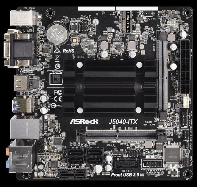 Материнская плата ASRock J5040-ITX (Intel Pentium Silver J5040, SoC, PCI-Ex1) - изображение 1
