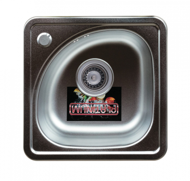 Кухонна мойка Platinum 38/38В Polish Урізна, Квадратна 0,6мм - изображение 1