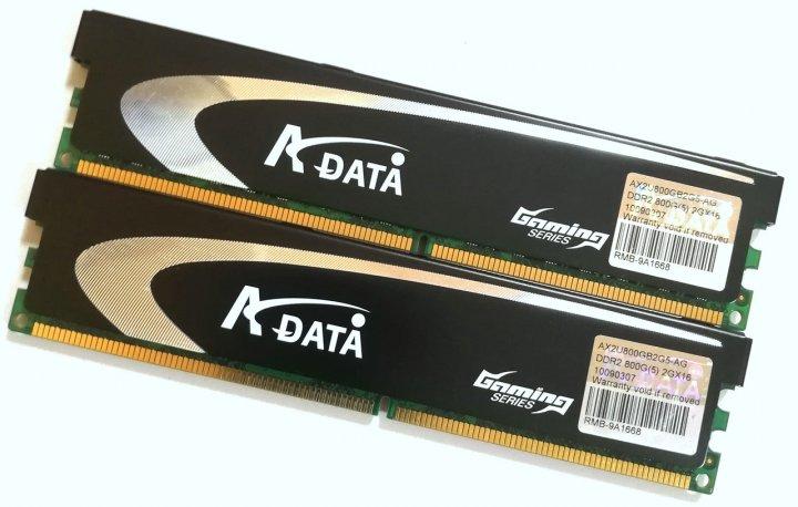 Пара оперативної пам'яті ADATA DDR2 4Gb (2Gb+2Gb) 800MHz 6400U CL5 (AX2U800GB2G5-AG) Б/У - зображення 1