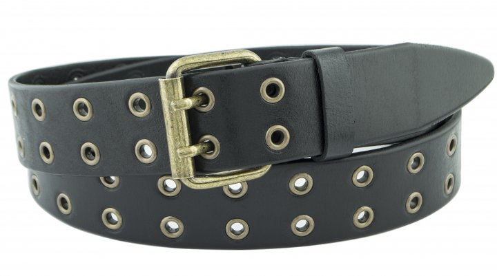 Женский кожаный ремень с люверсами J.K. 4 см для джинсов или платья черный 110-130 см (JK1781) - изображение 1