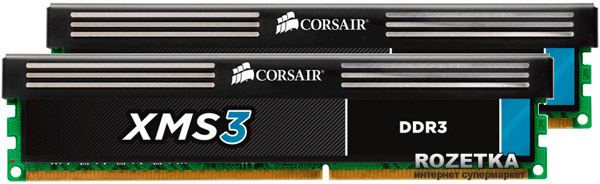 Оперативная память Corsair DDR3-1600 16384MB PC3-12800 (Kit of 2x8192) XMS3 (CMX16GX3M2A1600C11) - изображение 1
