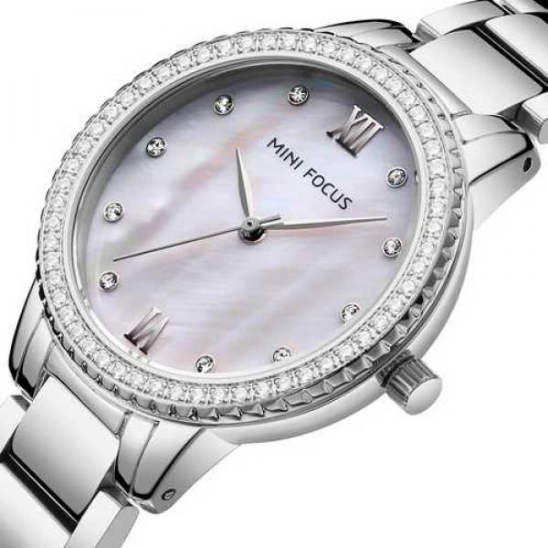 Женские кварцевые часы Mini Focus Silver наручные классические на стальном браслете + коробка (1095-0061) - изображение 1