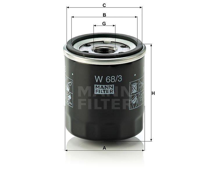 Фільтр масляний MANN W 68/3 - W 68/80 - W 68/1 - зображення 1