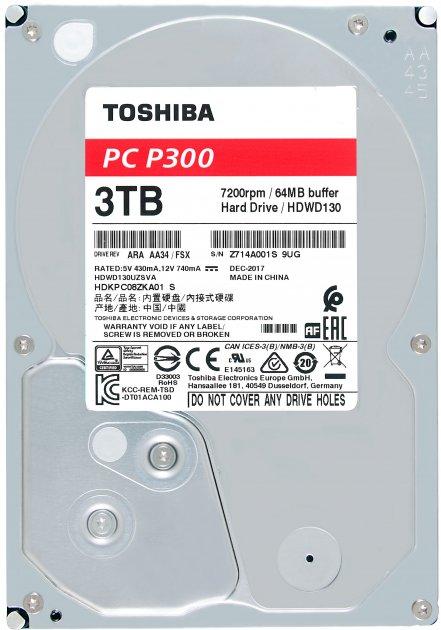 Жорсткий диск Toshiba P300 3TB 7200rpm 64MB HDWD130UZSVA 3.5 SATA III - зображення 1