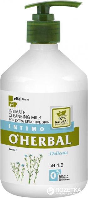 Молочко для интимной гигиены O'Herbal для особо чувствительной кожи с экстрактом льна 500 мл (5901845500494) - изображение 1