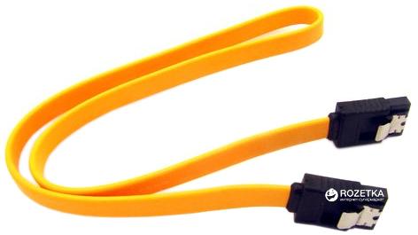 Кабель передачи данных Value 2 х SATA Female 7-pin с защелками 0.4 м Желтый (S0640) - изображение 1