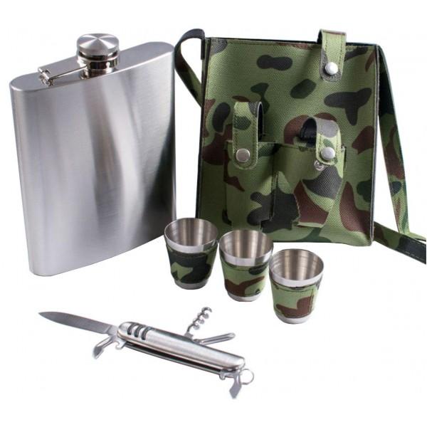 Набор в комуфляжном чехле Фляга, Рюмки, Нож PT18-2 - изображение 1
