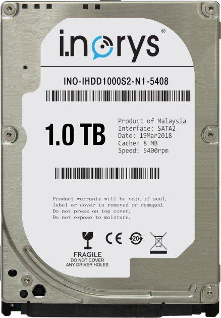 Жорсткий диск i.norys 1TB INO-IHDD1000S2-N1-5408 5400rpm 8MB 2.5 SATA II - зображення 1