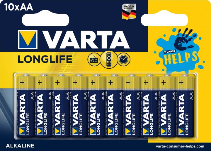 Батарейка Varta Longlife AA BLI HELPS 10 шт (4106321461) - изображение 1