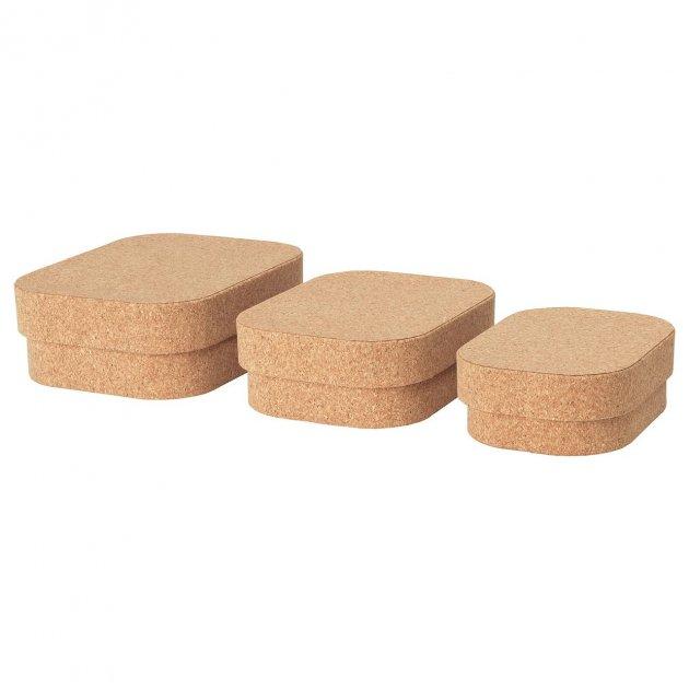 Набор коробок с крышкой IKEA SAMMANHANG 3 шт 004.137.36 - изображение 1