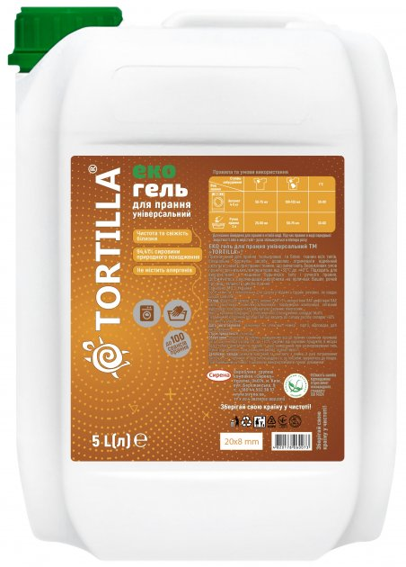 Эко гель Tortilla для стирки универсальный 5 л (4820178060073) - изображение 1
