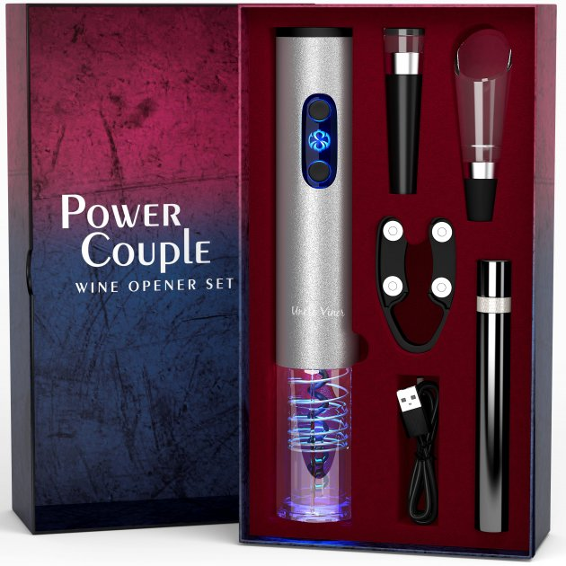 Подарочный набор Uncle Viner Power Couple, электроштопор с аккумуляторами и аксессуарами, Best seller в США - изображение 1