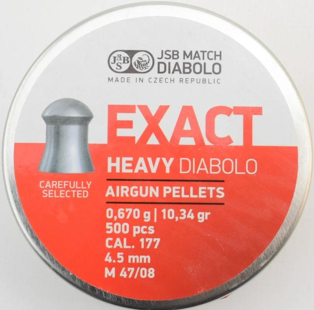 Пули пневм JSB Diablo Exact Heavy 4,52 мм 0,670 гр. (500 шт/уп) - изображение 1