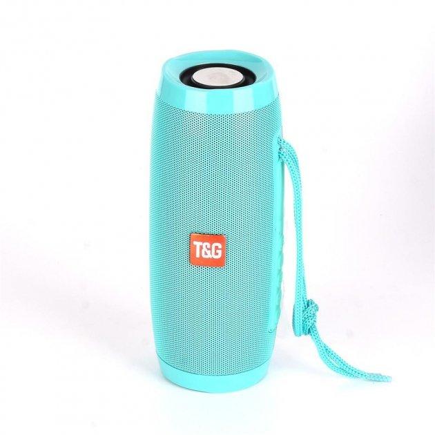 Портативная акустическая колонка T&G с LED-подсветкой и шнурком для переноски Bluetooth 10Вт Бирюзовая (TG157stereo-05) - изображение 1