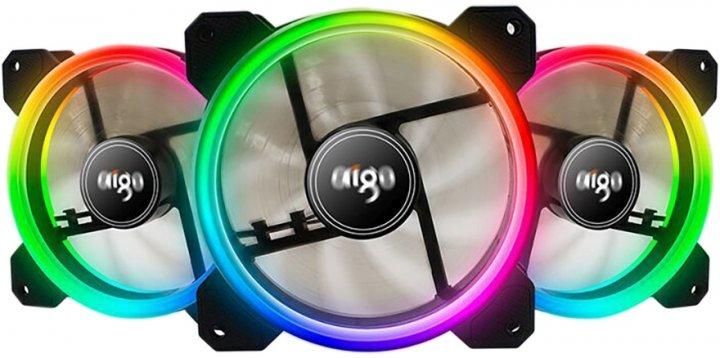 Комплект кулерів Aigo DR12 RGB 120 мм 3 в 1 з пультом керування Black (PT-3316) - зображення 1
