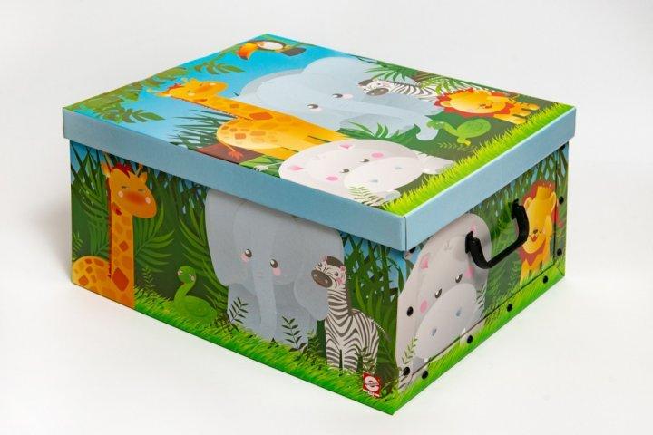 Коробка картонная с пластиковыми ручками Evoluzione 40 х 50 х 25 см Африканские звери (20) - зображення 1