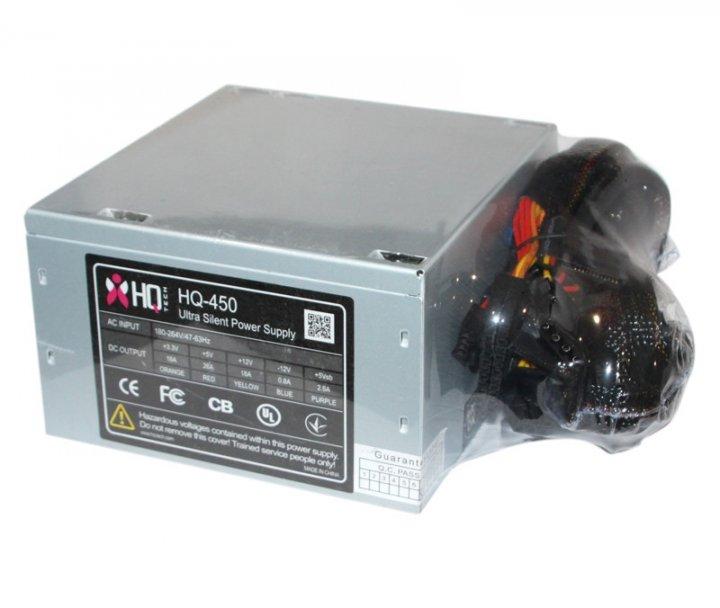 Блок живлення HQ-Tech 450W, 120 mm, 20+4pin, 1x4pin, SATA х 3, Molex 5x4pin, 1х6ріп, кабелю немодульні - зображення 1