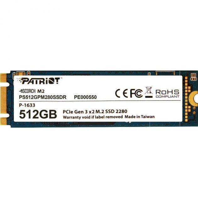 Твердотельный накопитель M.2 512Gb Patriot Scorch PCIE 2x TLC 1700/950 MB/s PS512GPM280SSDR - изображение 1