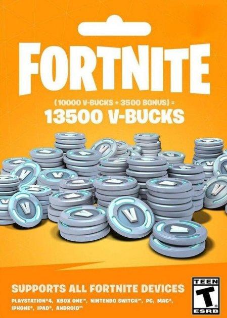 Fortnite 13500 В-баксів 10000 + 3500 V-BUCKS Всі платформи - зображення 1
