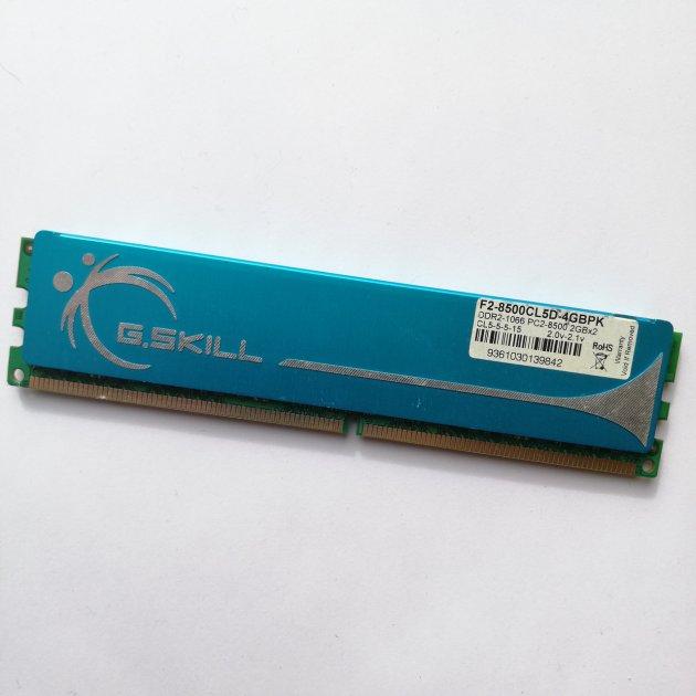 Ігрова оперативна пам'ять G. Skill DDR2 2Gb 1066MHz PC2 8500U CL5 (F2-8500CL5D-4GBPK) Б/У - зображення 1