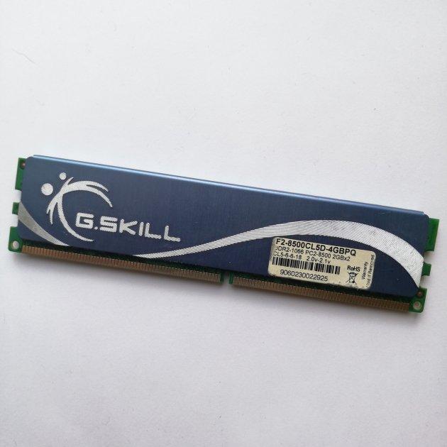 Ігрова оперативна пам'ять G. Skill DDR2 2Gb 1066MHz PC2 8500U CL5 (F2-8500CL5D-4GBPQ) Б/У - зображення 1