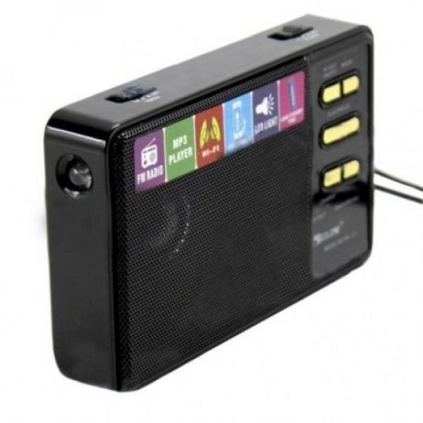 Акустическая система Golon радиоприёмник колонка с радио аккумуляторная с фонариком USB выход под флешку Чёрная (RX-113) - изображение 1