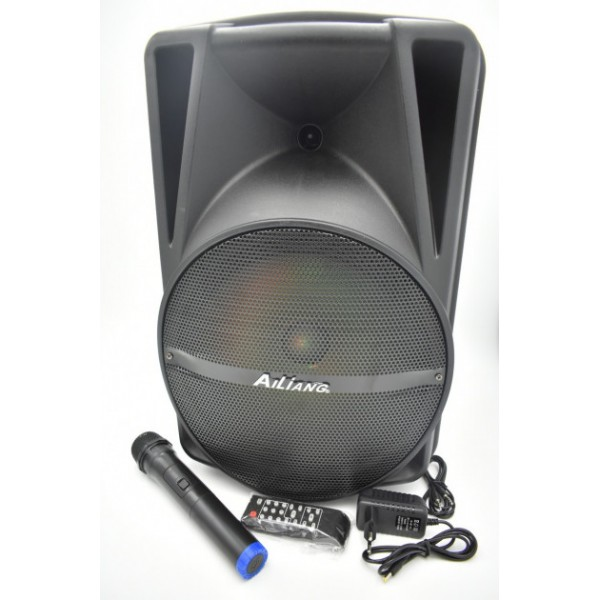 Акустична система Ailiang акумуляторна бездротова Bluetooth колонка з мікрофоном радіо і вбудованим сабвуфером комбо підсилювач пульт Чорна (AR-12) - зображення 1