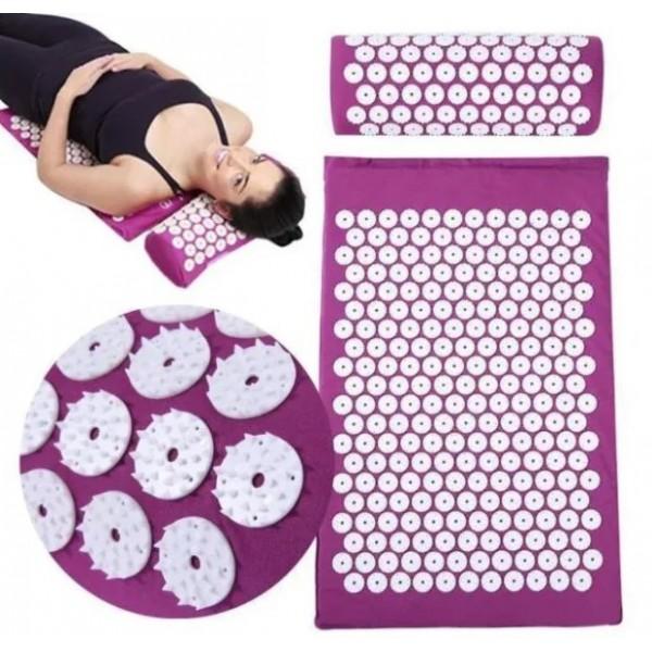 Масажний килимок з подушкою акупунктурний Аплікатор Кузнєцова Yantra Mat Ommassage фіолетовий - зображення 1