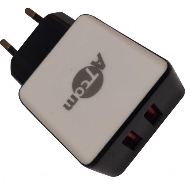 СЗУ - блок живлення DT-T01 ATCOM 220В/2*USB OUTPT:DC 5V=2.1 A MAX зарядний пристрій для Смартфонів і Планшетів (20101) - зображення 1