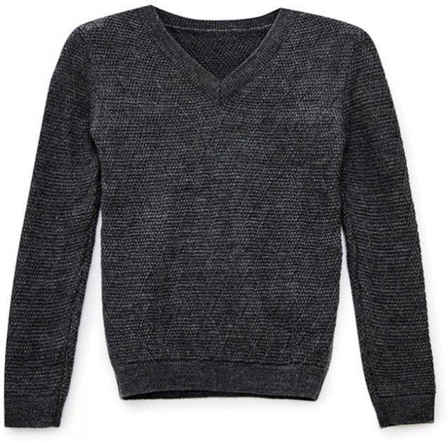 Пуловер Прованс Геометрія 13060 122-128 см Графітовий (4823093414389) - зображення 1