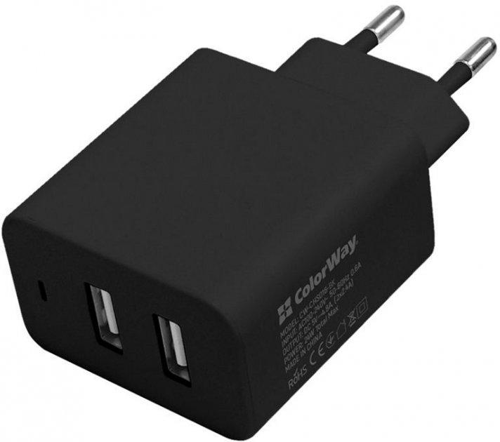 Сетевое зарядное устройство ColorWay 2USB AUTO ID 4.8A (20W) Black (CW-CHS016-BK) - изображение 1