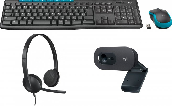 Комплект 4 в 1 Logitech Wireless Combo MK275 (920-008535) + вебкамера C505 HD (960-001364) + наушники Headset H340 (981-000475) - изображение 1
