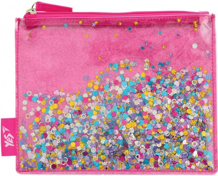 Пенал-косметичка Yes Glitter sorbet с блестками 1 отделение Розовый (532638) - изображение 1