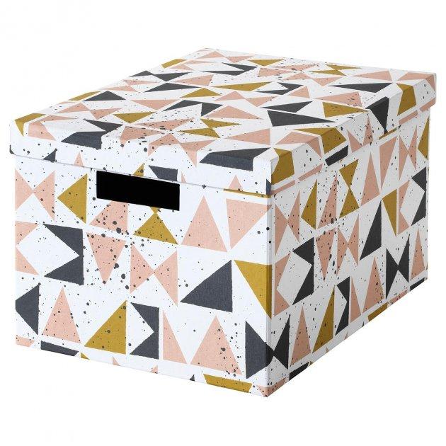 Коробка з кришкою IKEA TJENA 25x35x20 см білий чорний рожевий 403.982.15 - зображення 1