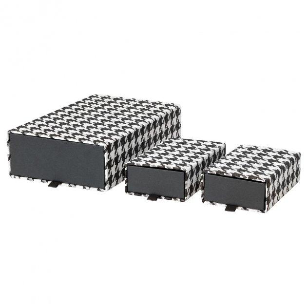 Набор коробок IKEA SAMMANHANG 3 шт черные белые 104.138.54 - изображение 1