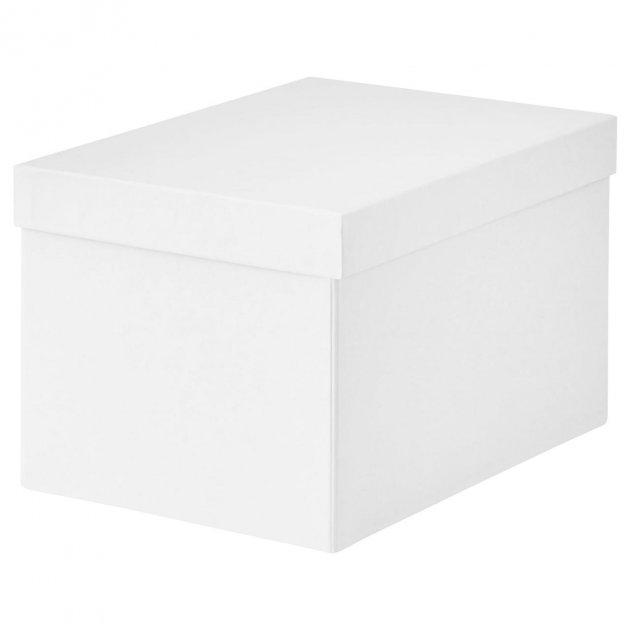 Коробка з кришкою IKEA TJENA 18x25x15 см біла 103.954.21 - зображення 1