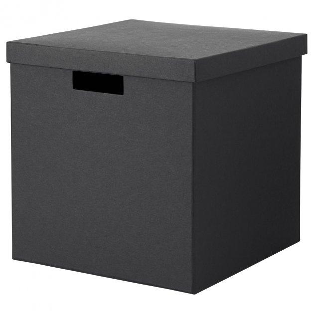 Коробка с крышкой IKEA TJENA 30x30x30 см черная 503.954.76 - зображення 1