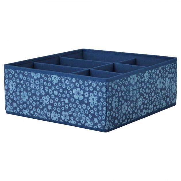 Коробка с отсеками IKEA STORSTABBE 37x40x15 см синяя 404.243.42 - изображение 1