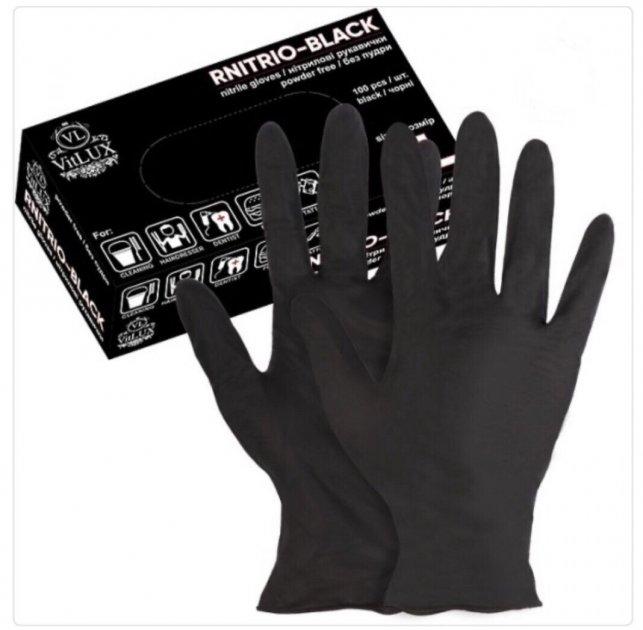 Перчатки медицинские нитриловые смотровые VitLux чёрные (уп 100шт 50пар) размер L (10577) - изображение 1