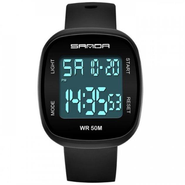Годинник Sanda Arnold з ремінцем з каучуку + секундомір, будильник Чорний - зображення 1