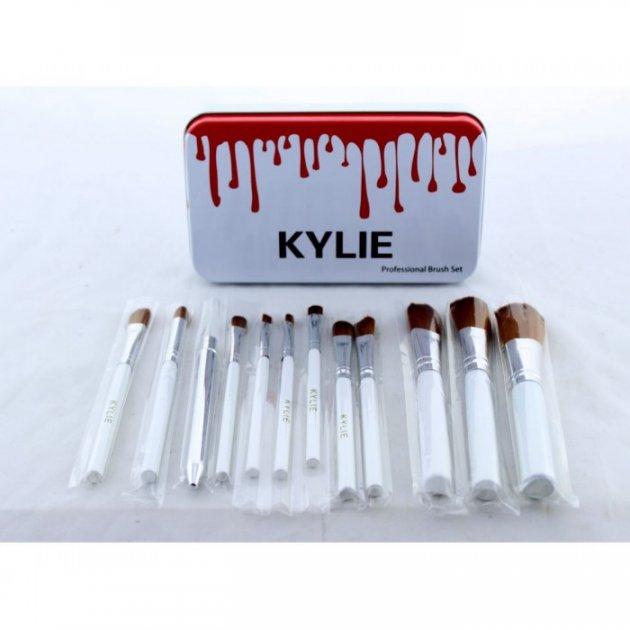 Кисті для макіяжу Kylie 12 шт набір кистей пензлика 12 шт Білі - зображення 1