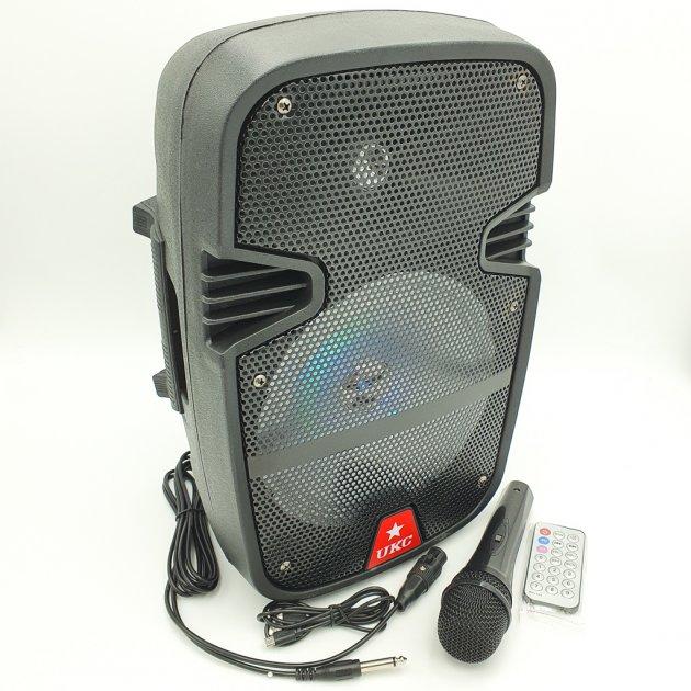 """Портативна колонка 8"""" акумуляторна бездротова Bluetooth караоке з провідним мікрофоном USB FM 40Вт UKC RE-258 - зображення 1"""