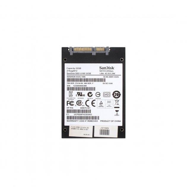 SSD HP HP 32GB SANDISK U100 2.5 IN SATA-3G SSD (680676-001) Refurbished - зображення 1