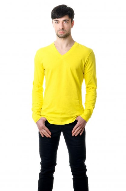 Футболка Чоловіча AndreStar з довгим рукавом і V-подібною горловиною Жовтий L (8112) - зображення 1