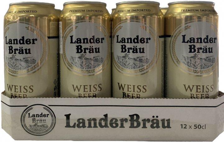 Упаковка пива Landerbrau Weissbier светлое нефильтрованное 4.7% 0.5 л х 12 шт (8714800032551) - изображение 1
