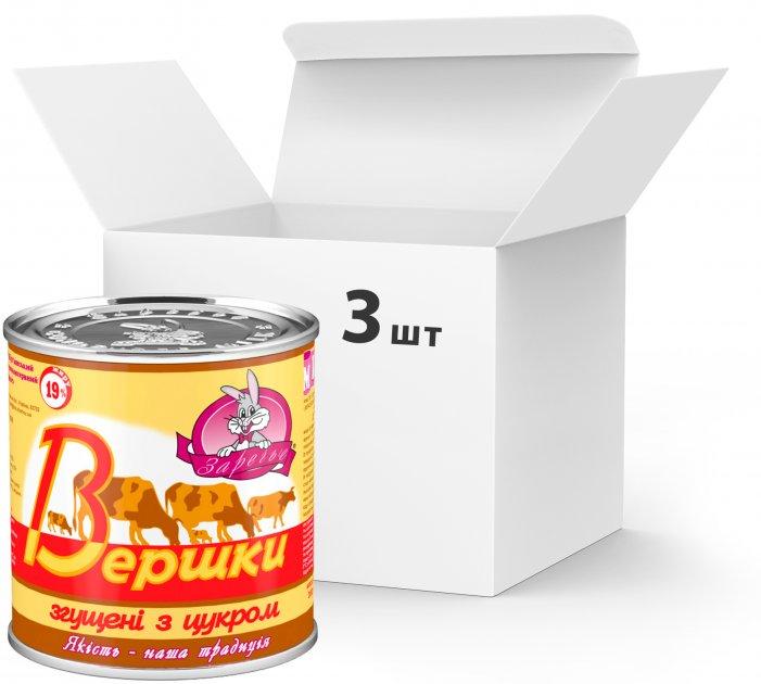 Упаковка сливок сгущенных Заречье с сахаром 19% 350 г х 3 шт (4820001076868) - изображение 1