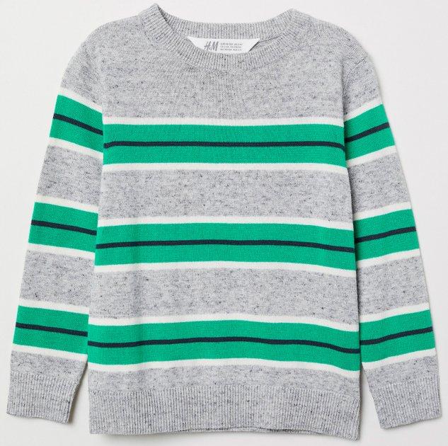 Джемпер H&M 9Z6284998 110-116 см Сірий із зеленим (hm06538224607) - зображення 1