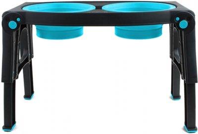 Миска подвійна з регульованими ніжками для собак Dexas Adjustable Height Pet Feeder 960 мл Блакитна (PW1204322194) (0084297309053)