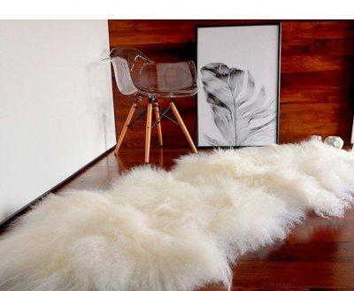 Килим з овчини Ісландка з 2х шкур доріжка Білий