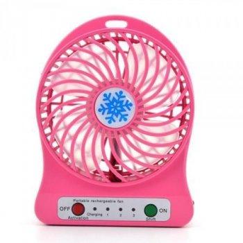 Вентилятор Portable Fan акумуляторний ліхтар настільний портативний Pink